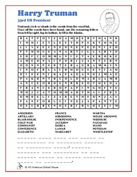 Harry Truman - Word Search and Fill in the Blanks