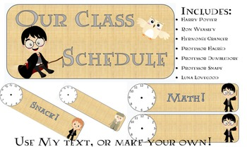 Harry potter theme Class schedule cards