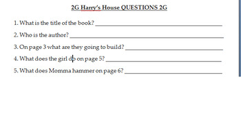 Harry's House – LISTENING & QUESTIONS - Decker ESL Book Study – Kinder