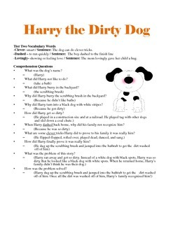 Harry the Dirty Dog - Story Comprehension, Retell, & Vocabulary