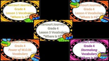 Hartcort Journey 4th Grade Unit 1 Vocabulary Bundle