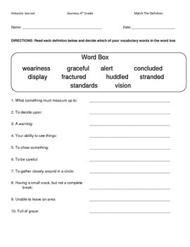 Hartcort Journeys 4th Grade Lesson 13 Antarctic Journal Vocab Packet