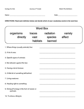 Hartcort Journeys 4th Grade Lesson 15 Ecology For Kids Vocab Pack