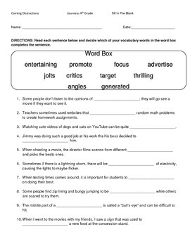 Hartcort Journeys 4th Grade Lesson 7 Coming Distractions  Vocab Packet
