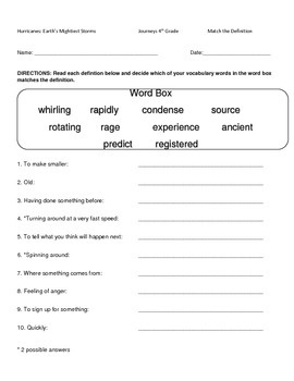 Hartcourt Journeys 4th Grade Lesson 11 Hurricanes Vocab Packet