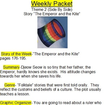 Hartcourt Theme 1 and 2 weekly packets