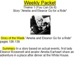 """Hartcourt Trophies 4th grade weekly packet """"Theme 1, Amelia and Eleanor"""""""