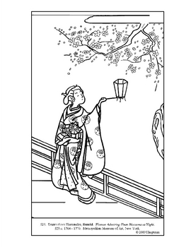 Harunobu.Woman Admiring Plum Blossoms. Coloring page/lessons