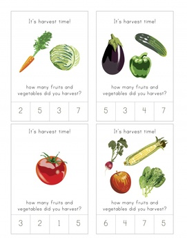 Harvest Counting Cards for Early Childhood Education and Natural Classroom