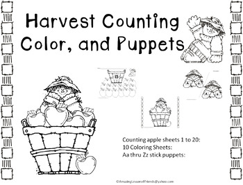 Harvest Counting, Color and Puppets (NO PREP)