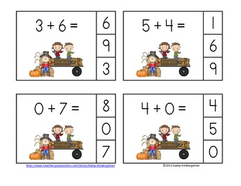Harvest Hayride Addition Math Centers (Sums of 0-10)