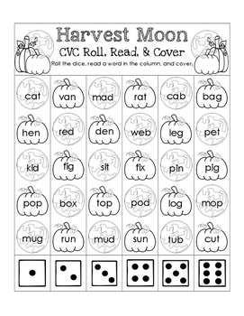 Harvest Moon CVC Roll, Read, and Cover