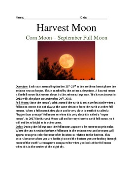 Harvest Moon - Oct 5 lesson information facts review questions word search