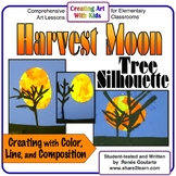 Art Lesson Harvest Moon Tree Silhouette