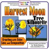 Art Lesson Harvest Moon Tree Silhouette