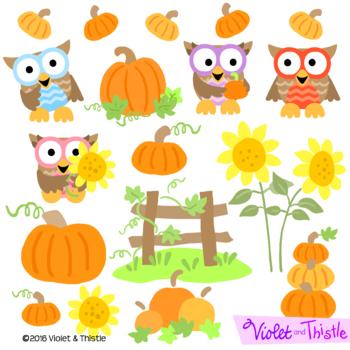 Harvest Owls Clipart Fall Clipart Pumpkin Patch Sunflower Thanksgiving Clip Art