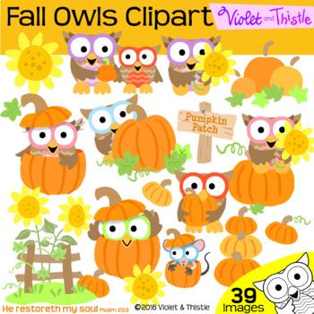Harvest Owls Fall Clipart Pumpkin Sunflowers Thanksgiving Clip Art COMBO