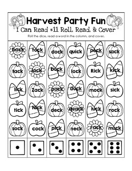Harvest Party Fun - I Can Read It! Roll, Read, and Cover (Lesson 11)