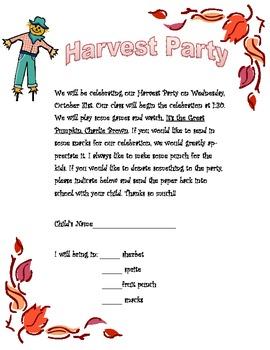 Harvest Party Letter (Simple)