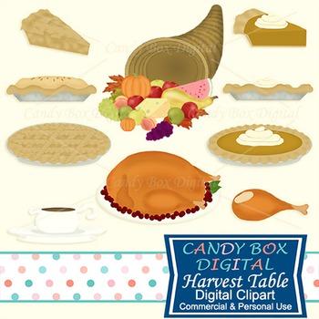 Harvest Table Food, Cornucopia, Horn Of Plenty, Thanksgiving Clip Art