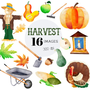Harvest Thanksgiving Clipart Set - 16 Images