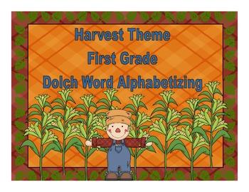 Harvest Theme First Grade Dolch Words Alphabetizing