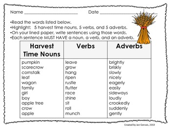 Harvest Time Build a Sentence