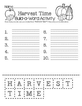 Harvest Time Build-a-Word Activity
