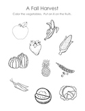 Harvest Time Fruit and Vegetable Sorting Worksheet
