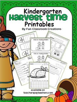 Harvest Time Kindergarten Packet (Common Core Aligned)