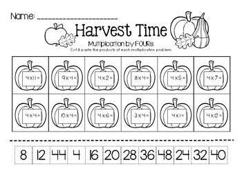 Harvest Time - Multiplication by FOURs (Little Math Facts Pack)