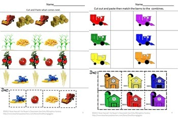Farm Harvest Farm Activities Farm Literacy Activities Farm Math Centers