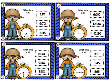 Math- Measurement- Time to 5 minutes - Harvest Time Task Cards