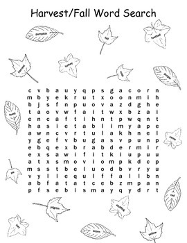 Harvest/Fall Word Search