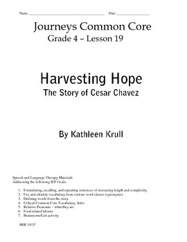 Journeys Common Core 4th - Harvesting Hope Supplemental Packet for the SLP
