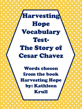 Harvesting Hope Vocabulary Test