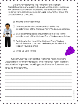 hope the story of cesar chavez writing prompt grade lesson  harvesting hope the story of cesar chavez writing prompt grade 4 lesson 19
