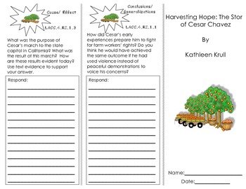 Harvesting Hope: The Story of Cesar Chavez Trifold/ Florida Journeys Common Core