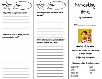 Harvesting Hope Trifold - Reading Street 6th Grade Unit 5 Week 2