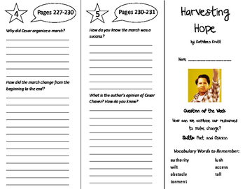 Harvesting Hope Trifold - Reading Street 6th Grade Unit 5 Week 2