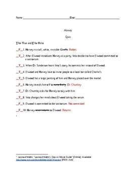 Harvey 1950 Movie Quiz and Key