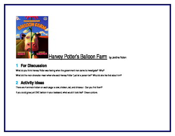 Harvey Potter's Balloon Farm for Literature Circles