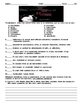 Harvey's Dream by Stephen King Assignment