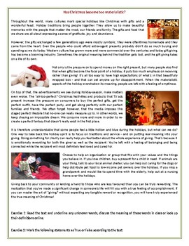 Has Christmas become too materialistic? - Reading Comprehension Worksheet / Text