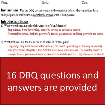 Impeachment DBQ - Questions, Discussion, and Writing