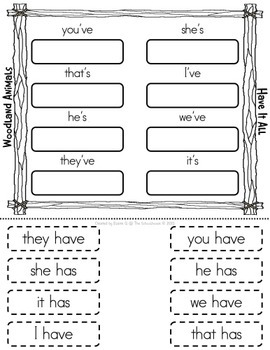 Contractions Game Mat and Worksheets for Has and Have