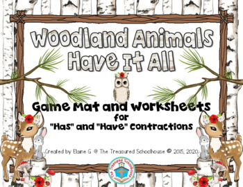 Contractions Game Mat and Worksheets for Has and Have with Woodland Animals