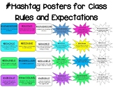 Hashtag Class Rules and Expectations Posters
