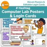 Hashtag Computer Lab Rules Posters & Login Cards