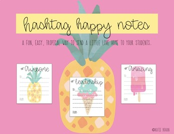 Hashtag Happy Notes Tropical